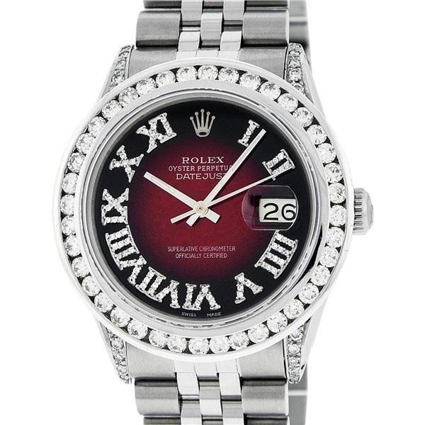 Rolex Mens Stainless Steel 3 ctw Red Vignette Roman Diamond Datejust Wristwatch