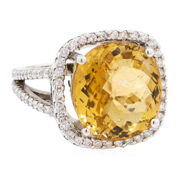 11.08 ctw Square Cushion Mixed Golden Tourmaline And Round Brilliant Cut Diamond