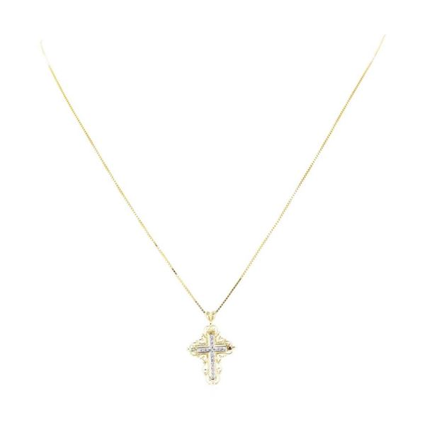 0.18 ctw Diamond Cross Pendant with Chain - 14KT Yellow and White Gold