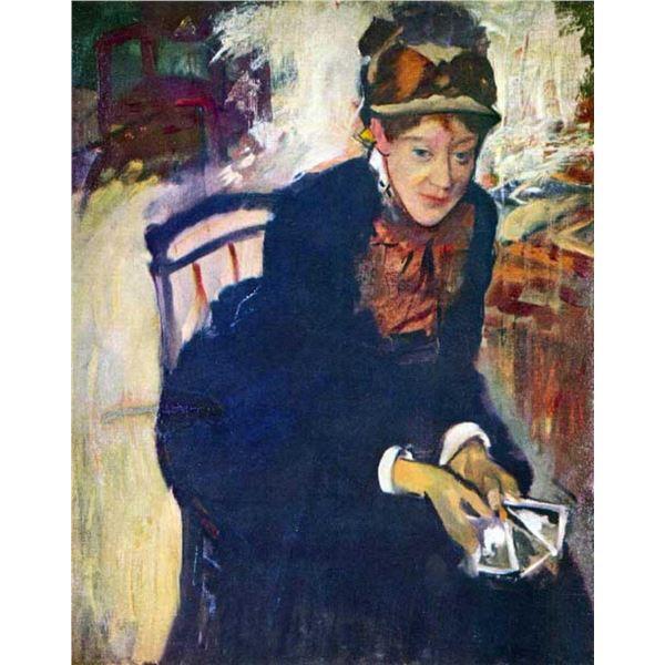 Edgar Degas - Portrait Of Miss Cassatt, Holding The Cards
