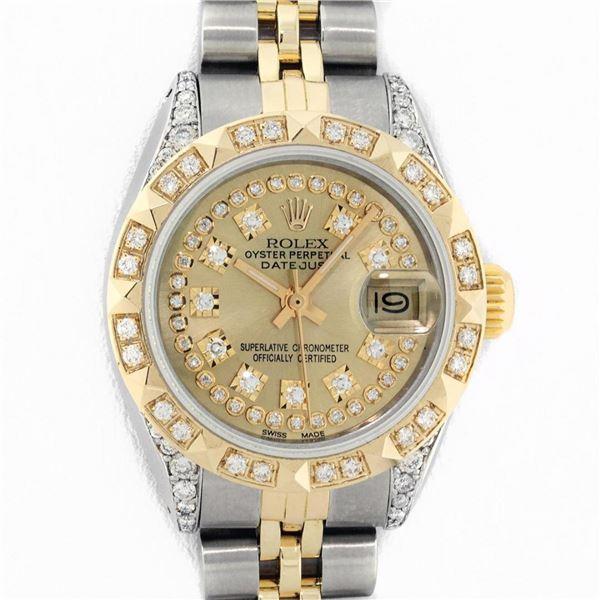 Rolex Ladies 2 Tone Champagne Diamond Lugs & Pyramid Datejust Wriswatch