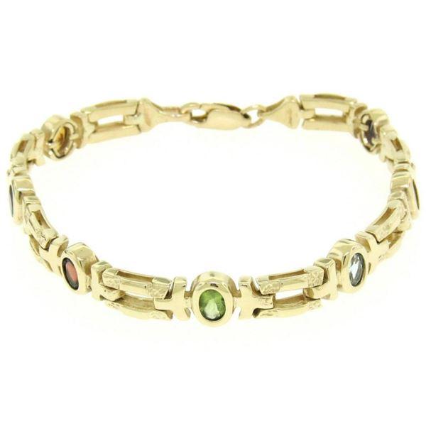 """14K Yellow Gold 7"""" Fancy Link 2.0 ctw Genuine Bezel Oval Multi Gemstone Bracelet"""