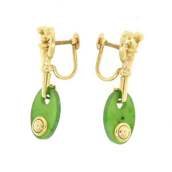 Estate 14kt Yellow Gold Oval Disk Jade Screw On Drop Dangle Earrings
