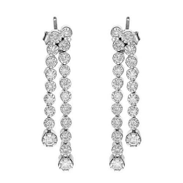 14k White Gold 0.98CTW Diamond Earrings, (I1-I2/H-I)