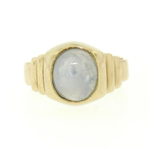 14K Yellow Gold 3.50 ctw Oval Bezel Set Star Sapphire Grooved Step Ring