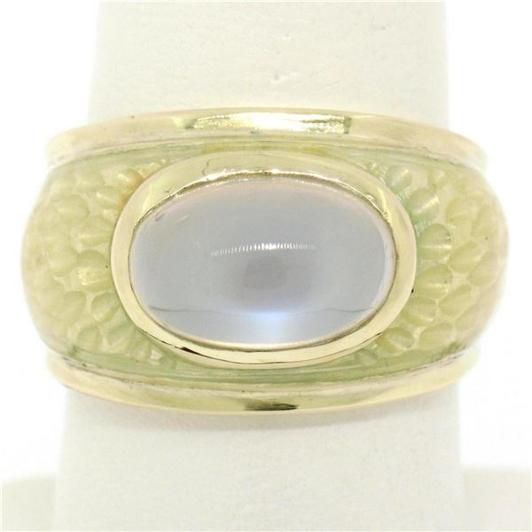 14K Yellow Gold Fine Cabochon Blue Moonstone & Enamel Textured Ring Unique