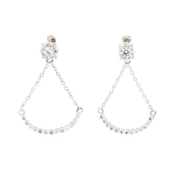 0.51 ctw Diamond Dangle Crescent Earrings - 10KT White Gold