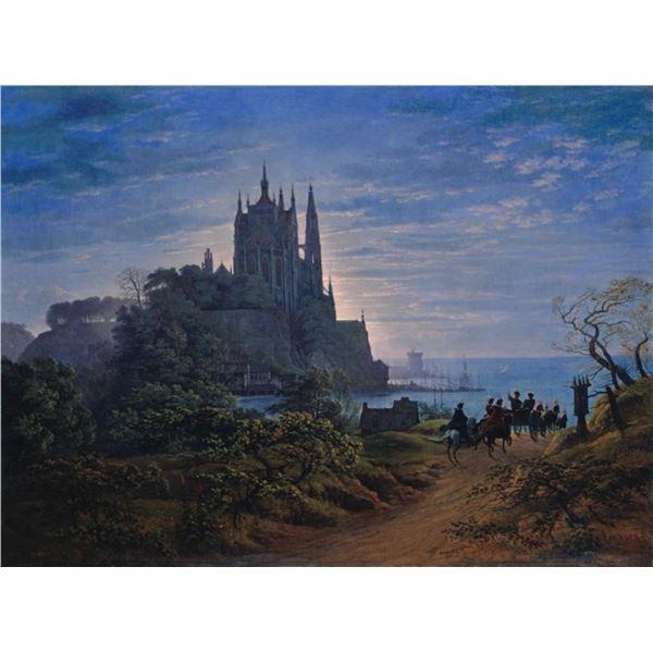 Karl Friedrich Schinkel- Gothic Church on a Rock by the Sea