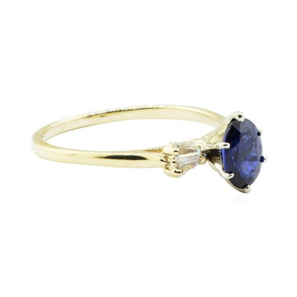 1.17 ctw Blue Sapphire and Diamond Ring - 14KT Yellow Gold