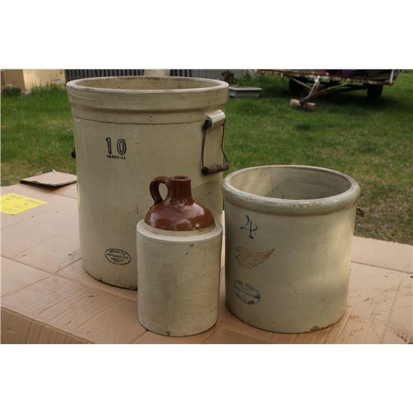 antique crocks and jug