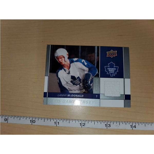 LANNY MCDONALD UD GAME JERSEY CARD