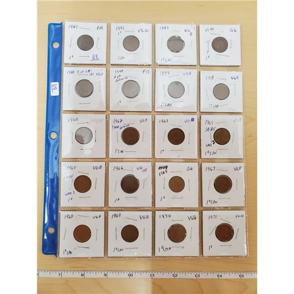 SHEET OF 20 CANADIAN PENNIES 1941-1971 VARIOUS GRADES