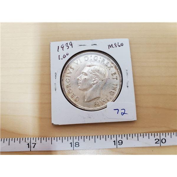 1939 CANADIAN DOLLAR MS60
