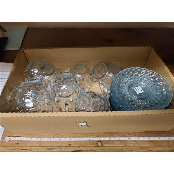 blue bubble cup & saucers 11 pc set