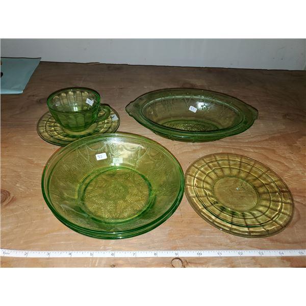 green depression glass lot