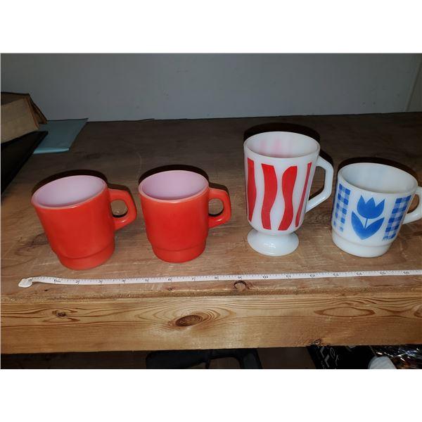 3 anchor hocking mugs & 1 termocria mug