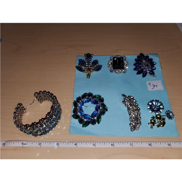 6 blue rhinestone broaches & triad rhinestone bracelet