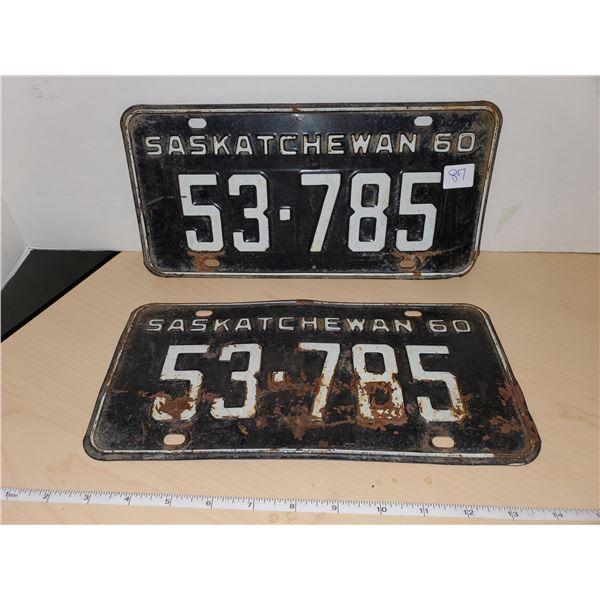 pair 1960 sask license plates