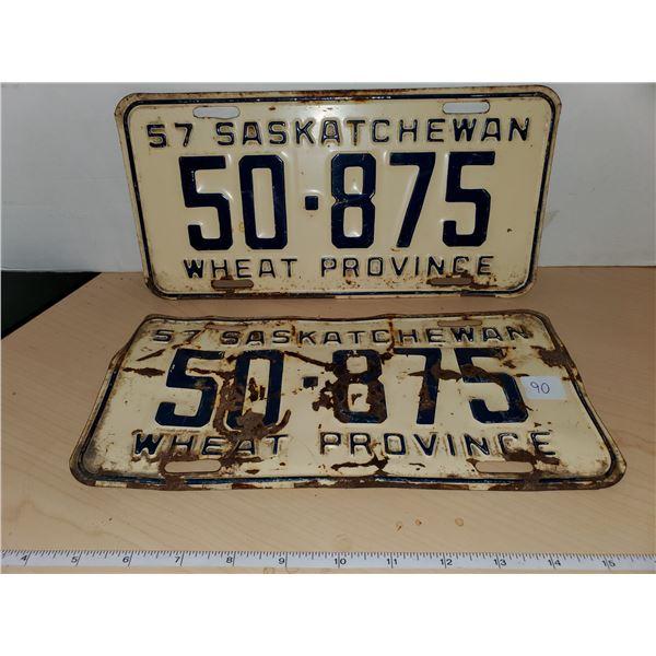 pair 1957 sask license plates