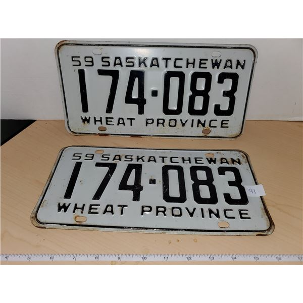 pair 1959 sask license plates