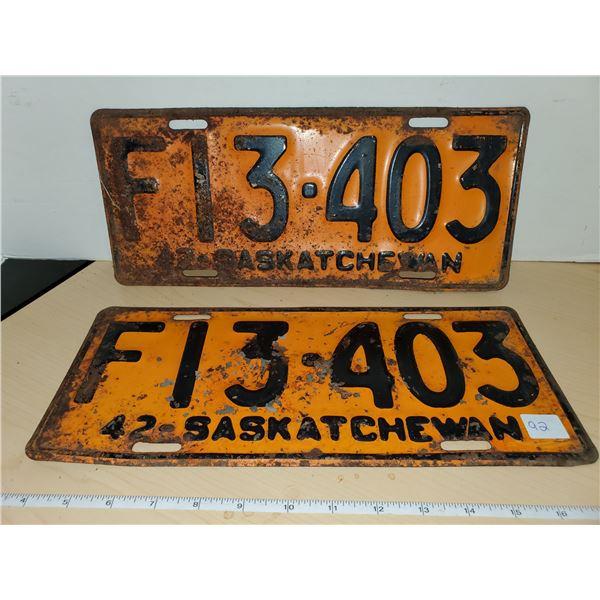 pair 1942 sask license plates