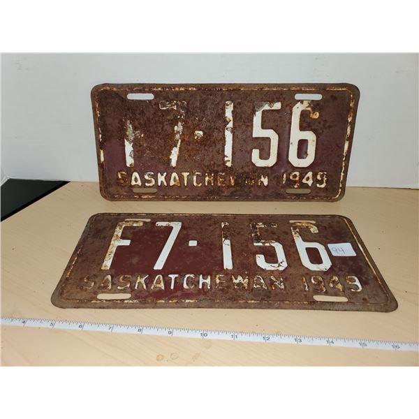 pair 1949 sask license plates