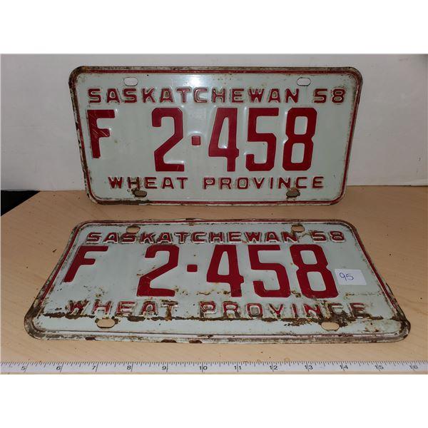 pair 1958 sask license plates