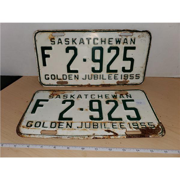 pair 1955 sask license plates