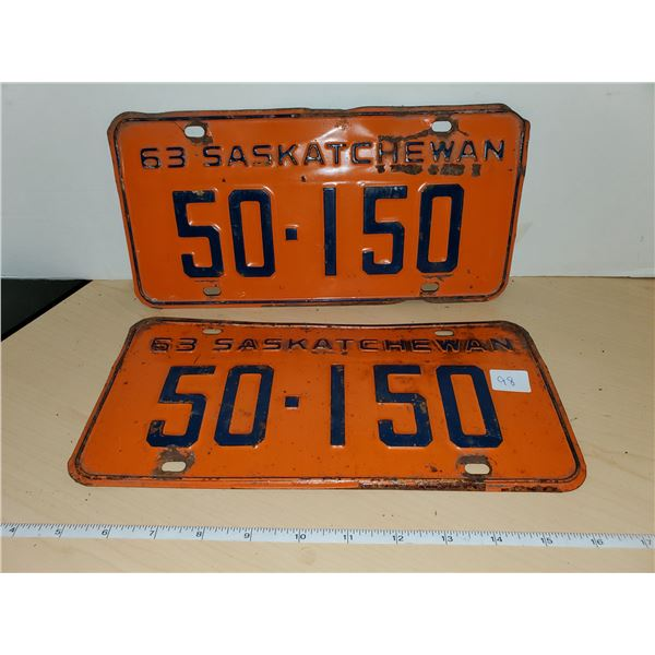pair 1963 sask license plates