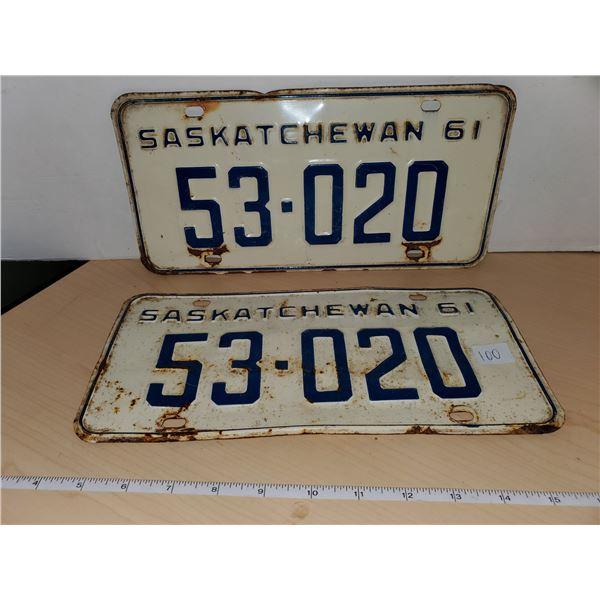 pair 1961 sask license plates