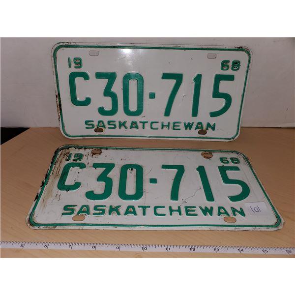 pair 1968 sask license plates