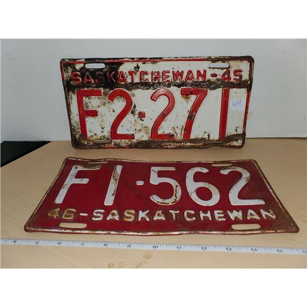 1945 & 1946 sask license plates