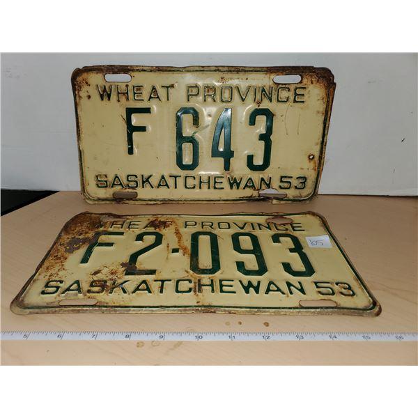 2 1953 sask license plates