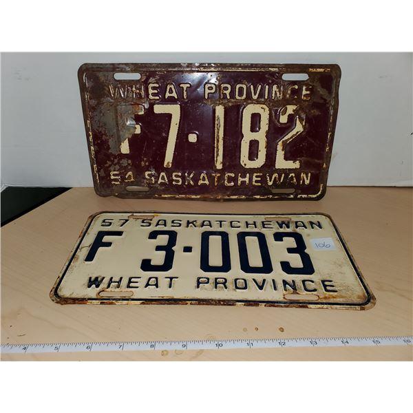 1954 & 1957 sask license plates