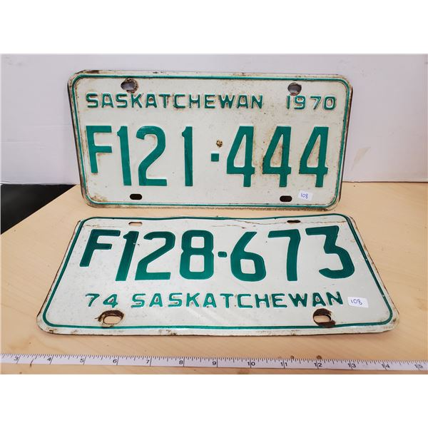 1970 & 1974 sask license plates