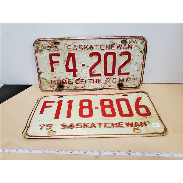 1973 & 1975 sask license plates
