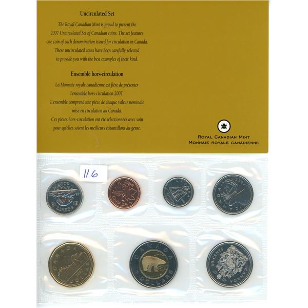 2007 Canadian Coin Set - 7 Piece - Uncirculated