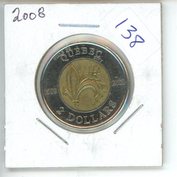 2008 Canadian Toonie $2 Coin - Quebec
