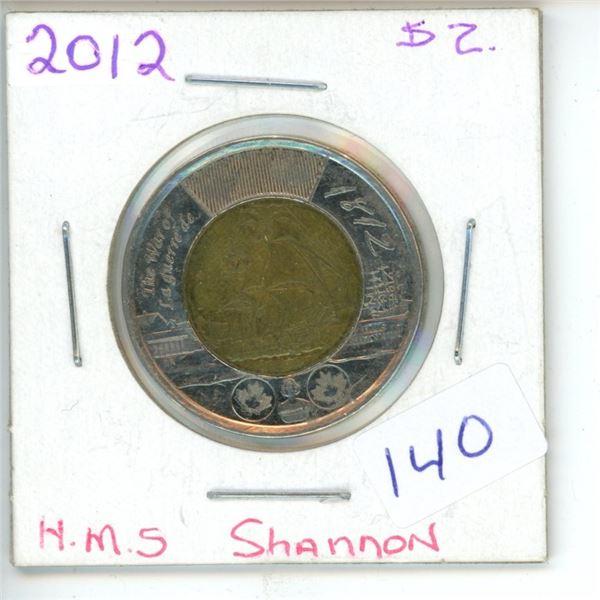 2012 Canadian Toonie $2 Coin - HMS Shannon