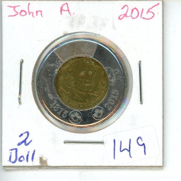 2015 Canadian Toonie $2 Coin -John A. McDonald