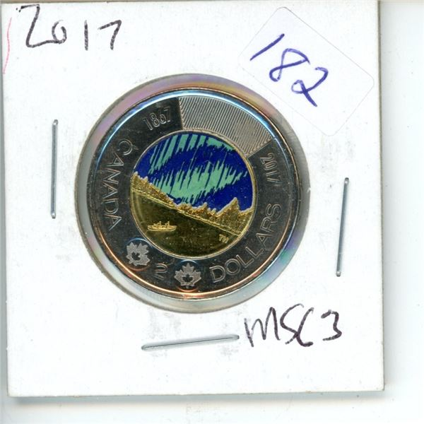 2017 Canadian Toonie $2 Coin - Northern Lights - Color