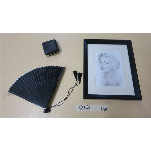 """Marylin Munroe Picture (9 1/4""""X11 3/4""""), Small Table Clock and Folding Fan"""
