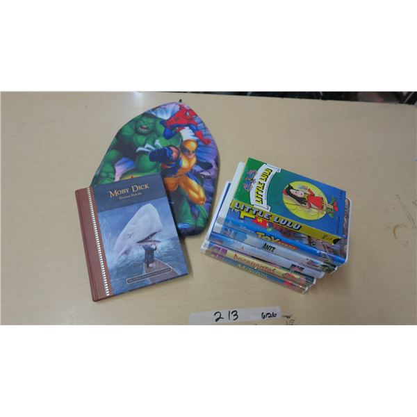 Children's VHS Tapes X6, Avengers Floatie and Moby Dick Book