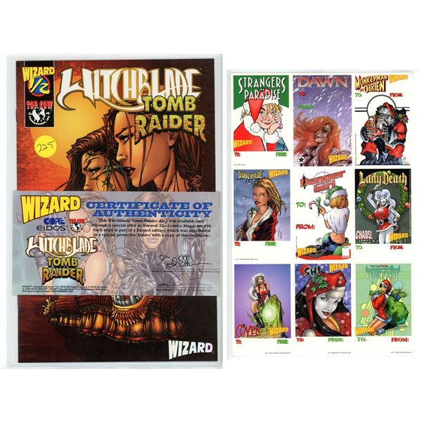 Witchblade/Tomb Raider - Wizard Exclusive #1/2 (Comic) and Wizard Xmas Card Sheet