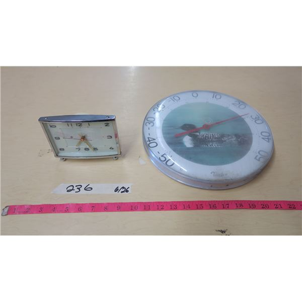 Wind-up Clock and Wall Thermometer