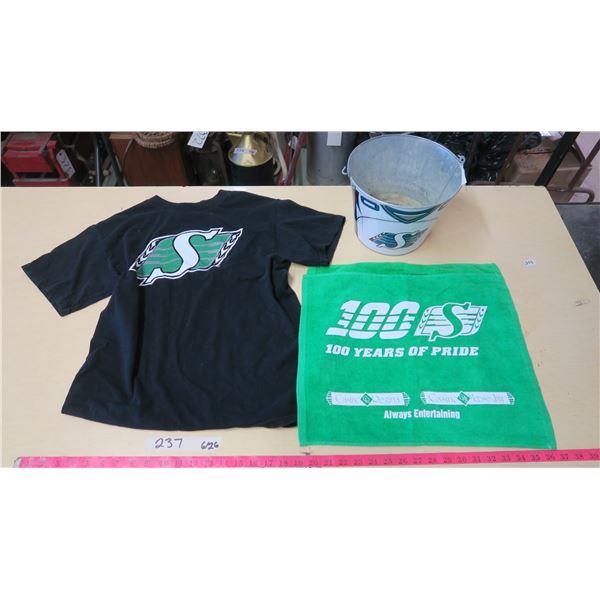 Saskatchewan Roughriders Medium Shirt, Metal Bucket and 2 Dish Towels