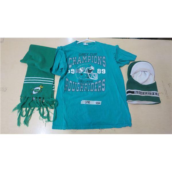 Saskatchewan Roughriders Scarf, Medium T-Shirt and Winter Headwear