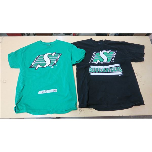 Saskatchewan Roughriders Shirts X2 (Green-Medium)(Black-Large)