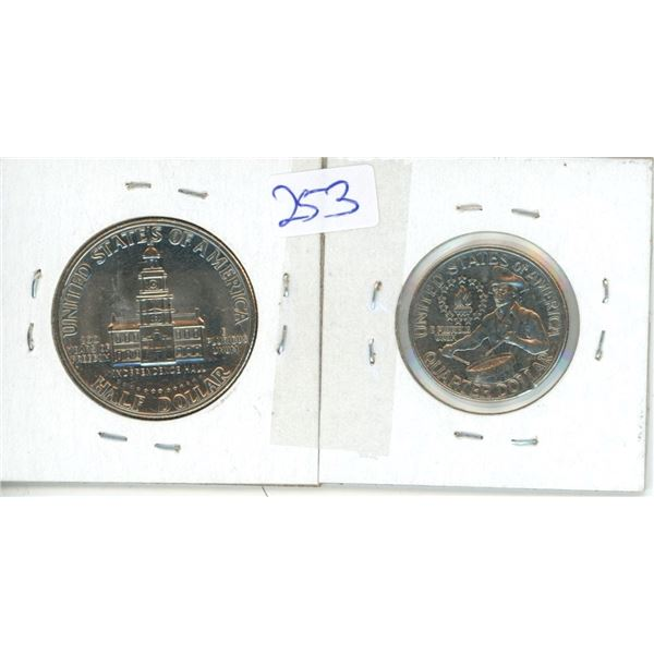 1976 Kennedy Half Dollar and 1976D Quarter - Liberty US Coins - 2 Piece