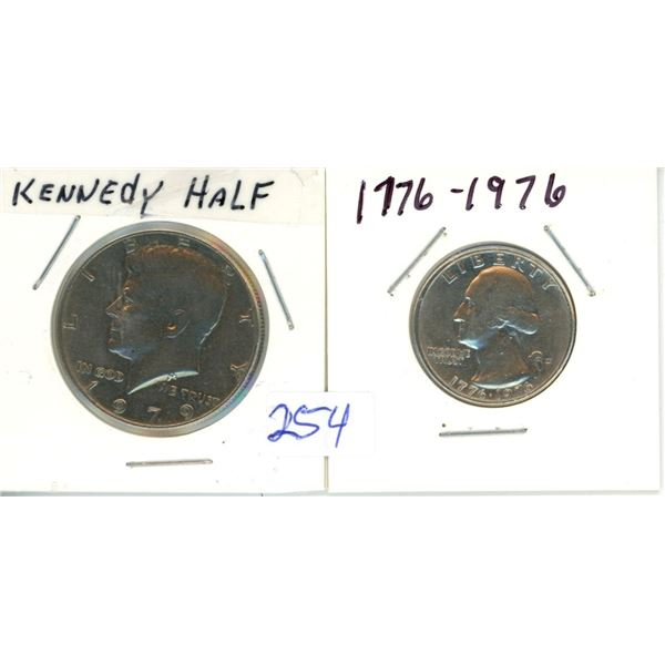 1979 Kennedy Half Dollar and 1976 Quarter - Liberty US Coins - 2 Piece